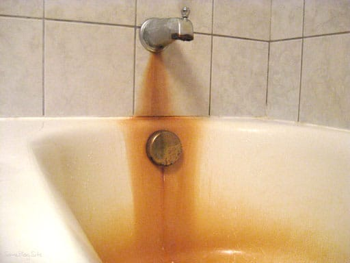 Iron staining on bathtub