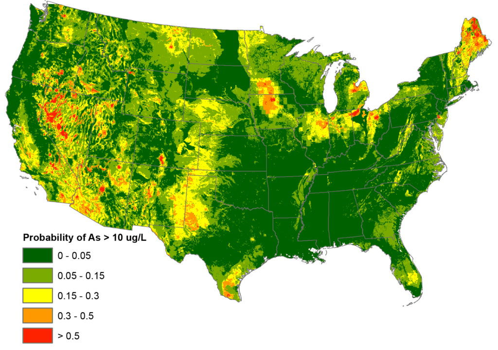 Probability of arsenic throughout the united states