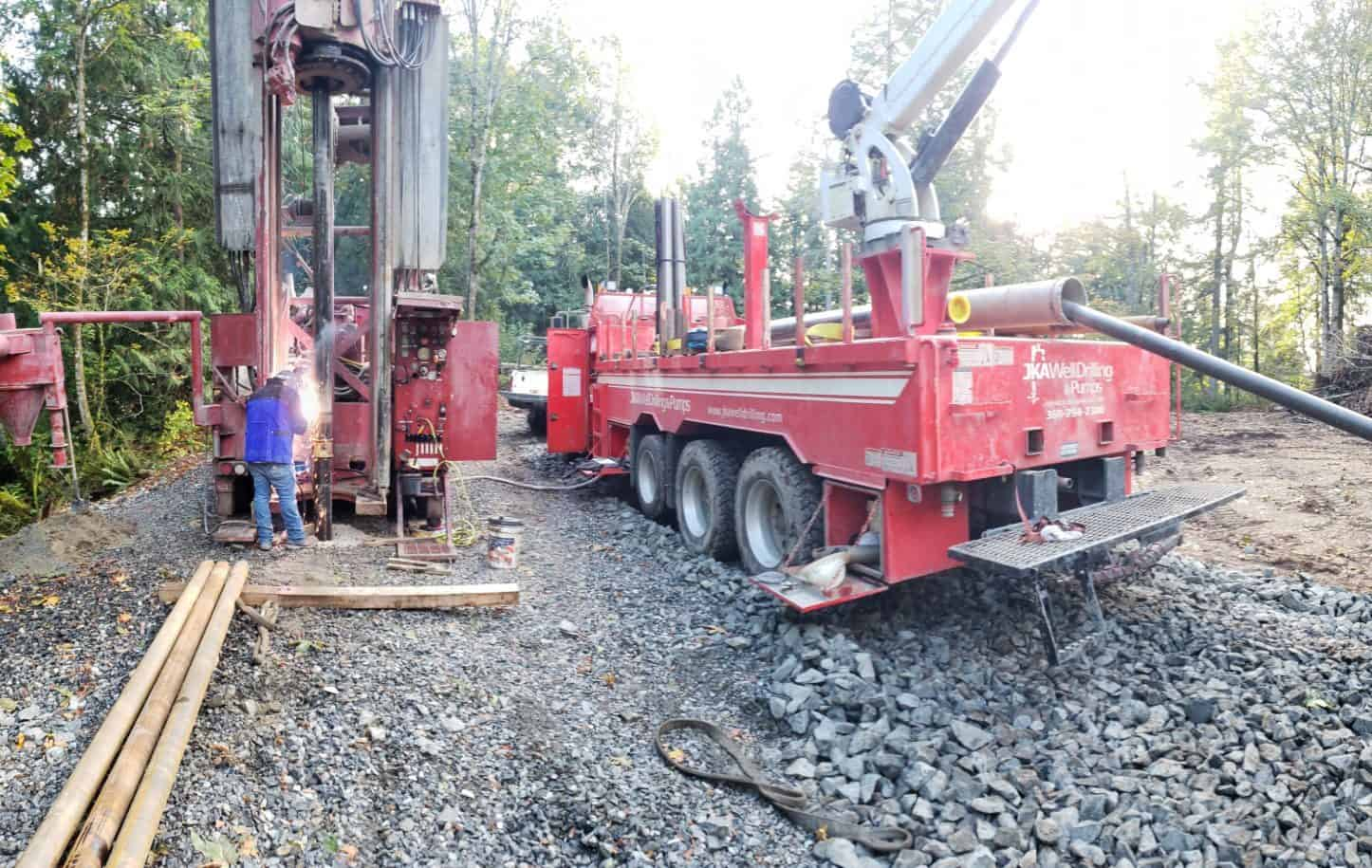 A water well being drilled by JKA Well Drilling & Pumps in Monroe, Washington