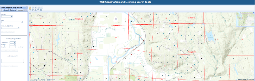 Well log mapping webpage screenshot